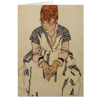 Die Schwägerin Künstlers Egon Schiele- Grußkarte