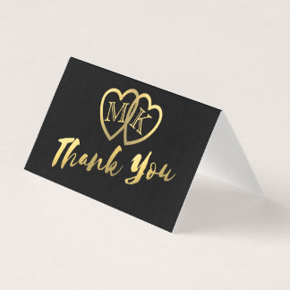 Die schwarzen Mini Goldmattherzen danken Ihnen Platzkarte