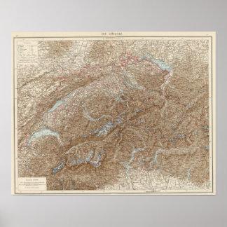 Die Schweiz, die Schweiz-Atlas-Karte Poster