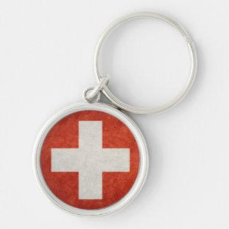 Die Schweiz-Flagge Silberfarbener Runder Schlüsselanhänger