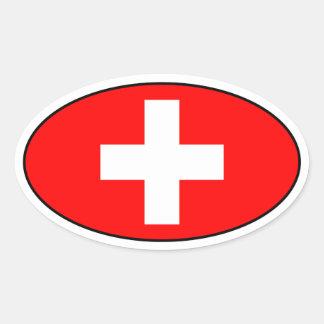 Die Schweiz-Flaggen-Oval-Aufkleber Ovaler Aufkleber