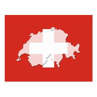 Die Schweiz-Flaggenkarten-Konturpostkarte Postkarte