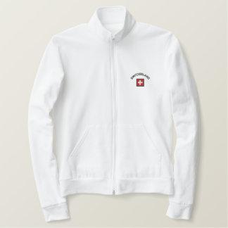 Die Schweiz-Jacke mit Schweizer Taschen-Flagge Bestickte Jacke
