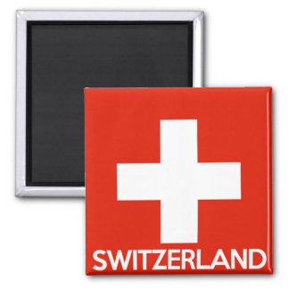 Die Schweiz-Landesflaggesymbolnamen-Textschweizer Quadratischer Magnet