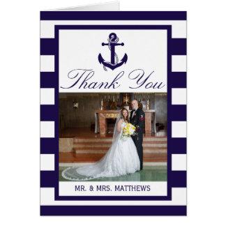 Die Seeanker-Marine-Streifen-Hochzeits-Sammlung Karte