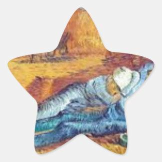 Die Siesta von Vincent van Gogh (Noon) Stern-Aufkleber