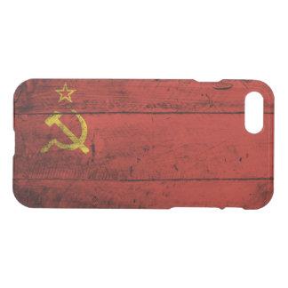 Die Sowjetunions-Flagge auf altem hölzernem Korn iPhone 8/7 Hülle