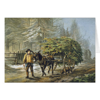 Die Stechpalmen-Wagen-Weihnachtskarte Karte