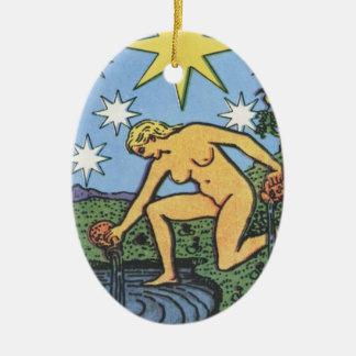 Die Stern-Verzierung Ovales Keramik Ornament