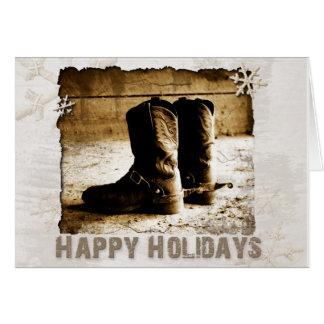Die Stiefel-Weihnachtsgruß-Feiertag des Cowboys Karte