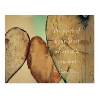 Die Stimme Ihres Herzens flüstert zu meinem Soul Postkarte