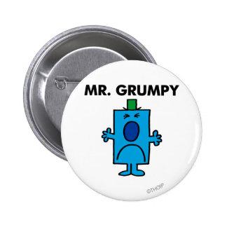Die Stirn runzelndes Gesicht Herr-Grumpy | Runder Button 5,7 Cm