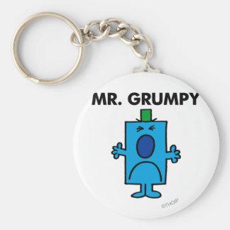 Die Stirn runzelndes Gesicht Herr-Grumpy   Standard Runder Schlüsselanhänger