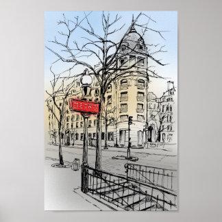 Die Straße von Paris-Hand gezeichnet färbte Poster