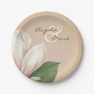 Die südliche Magnolien-Blume, die | Antike Wedding Pappteller