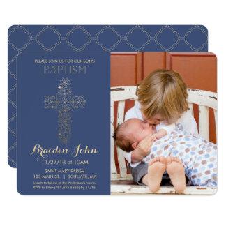 Die Taufe des Jungen, Taufeinladung, Foto, Gold Karte