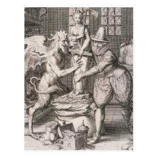 Die Teufel-Sets eine Statue der Möglichkeit auf Postkarte