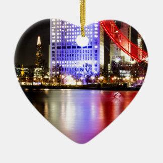 Die Themse in der Farbe nachts Keramik Herz-Ornament