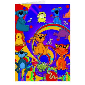 Die Tier-Collage des Karten-Jungen-Kindes Karte