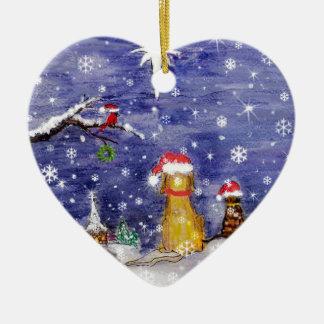 Die Tier-Weihnachtssogar Aquarell-Kunst Keramik Ornament
