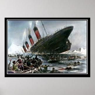 Die titanische sinkende Künstler-Ansicht Poster