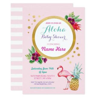 Die tropische Flamingo-Babyparty Aloha laden ein Karte