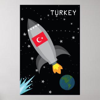 Die Türkei-Flaggen-Rocket-Schiff Poster