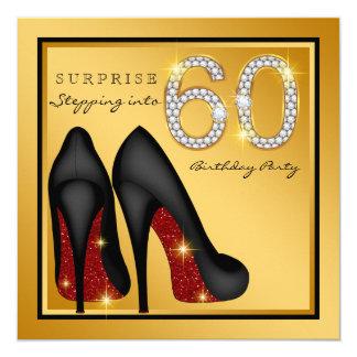 Die Überraschungs-60. Geburtstags-Party der Frau Quadratische 13,3 Cm Einladungskarte