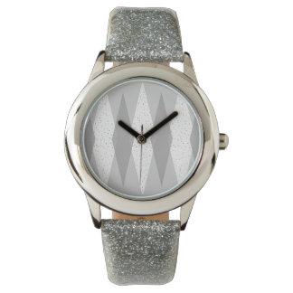 Die Uhr Mitte- des Jahrhundertsdes modernes graues