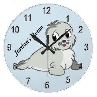 Die Uhr-niedliches Baby-Siegel der Kinder Große Wanduhr