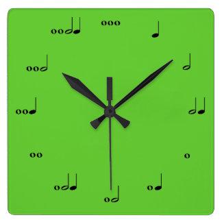 Die ursprüngliche Musik-Anmerkungs-Uhr Quadratische Wanduhr