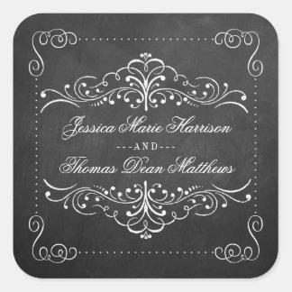 Die verzierte Tafel-Hochzeits-Sammlung - Siegel Quadratischer Aufkleber