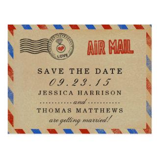 Die Vintage Luftpost-Hochzeits-Sammlung Postkarte