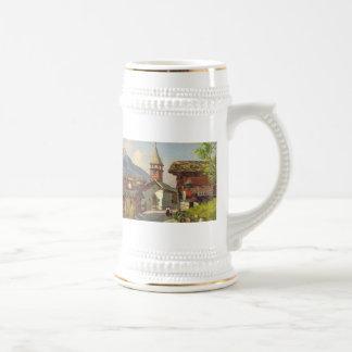 Die Vintage Schweiz, a-Dorf im Wallis Bierglas