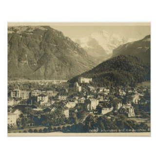 Die Vintage Schweiz, Interlaken und das Jungfrau Plakat