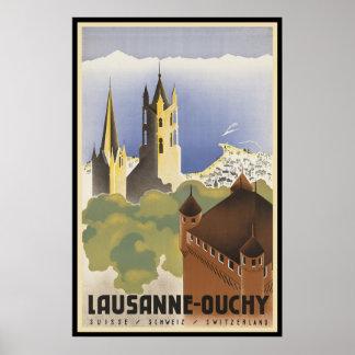 Die Vintage Schweiz Lausanne-Ouchy Poster