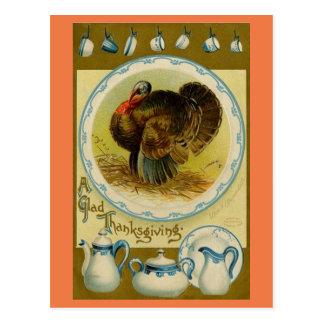 Die Vintage Türkei mit Geschirr Postkarte