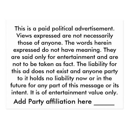 Die Wahrheit von ihr Postkarten-politische Politik