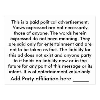 Die Wahrheit von ihr Postkarten-politische Politik Postkarte