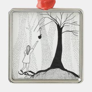 Die Waldhunger Quadratisches Silberfarbenes Ornament
