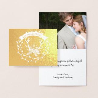Die Wedding Foto-Goldfoliewreath-Geweihe danken Folienkarte