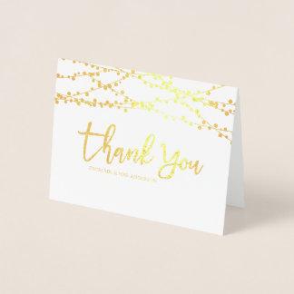 Die Wedding Goldfolien-Schnur-Lichter danken Ihnen Folienkarte