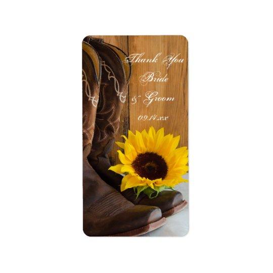 Die Wedding Land-Sonnenblumen danken Ihnen, Adressaufkleber