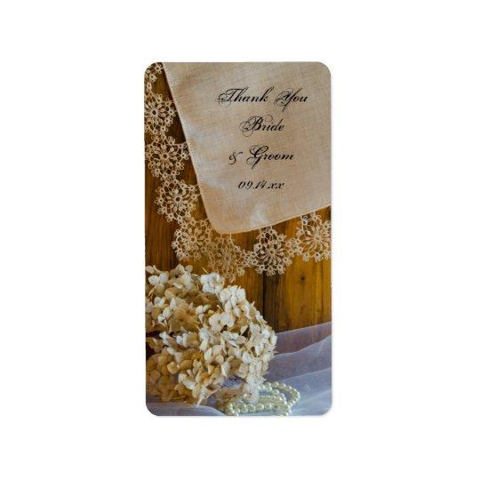 Die Wedding Land-Spitze-Blumen danken Ihnen, Umbau Adressaufkleber