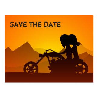 Die Wedding Motorrad-Berge Save the Date laden ein Postkarte