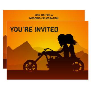 Die Wedding Paar-Reitmotorrad-Berge laden ein 8,9 X 12,7 Cm Einladungskarte