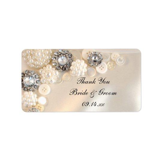 Die Wedding Perlen-Diamant-Knöpfe danken Ihnen, Adressaufkleber