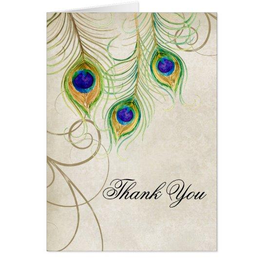 Die Wedding Pfau-Federn danken Ihnen, Briefpapier Mitteilungskarte
