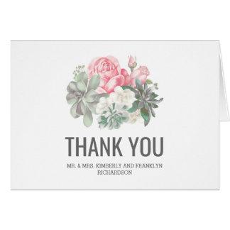 Die Wedding Succulents und rosa Blumen danken Karte