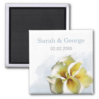 die Wedding Watercolor Callalilien retten Quadratischer Magnet